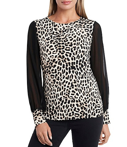 Vince Camuto Long Chiffon Sleeve Leopard Print Knit Top