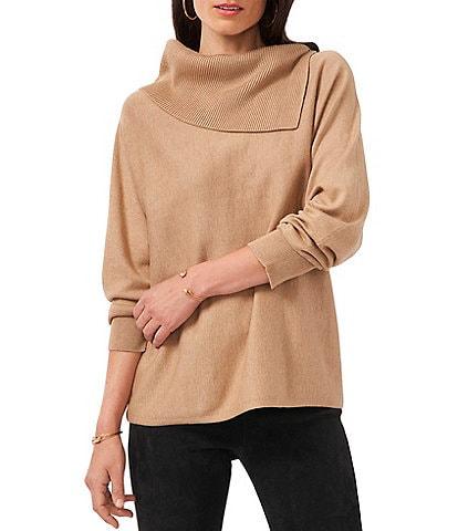 Vince Camuto Long Dolman Sleeve Foldover Neck Statement Sweater