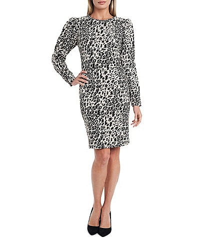 Vince Camuto Long Puff Sleeve Leopard Print Jacquard Shift Dress
