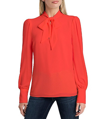 Vince Camuto Long Puff Sleeve Tie Neck Blouse