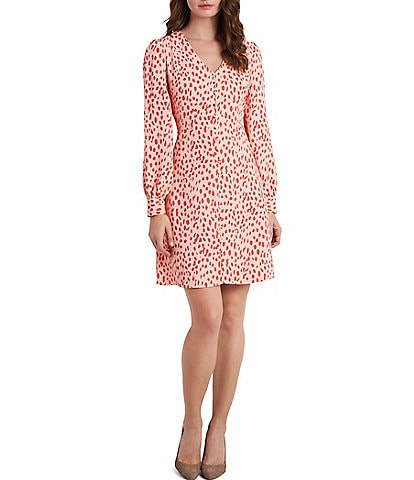 Vince Camuto Long Sleeve Animal Print Button Front Dress