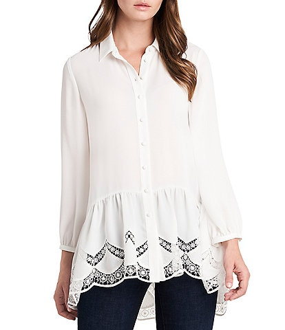 Vince Camuto Long Sleeve Button Down Embroidered Tunic
