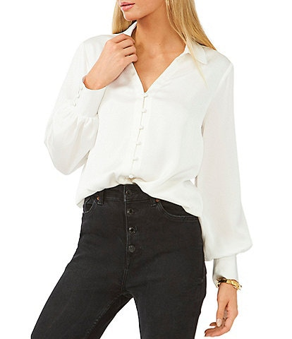 Vince Camuto Long Sleeve Button Front Collar Satin Blouse