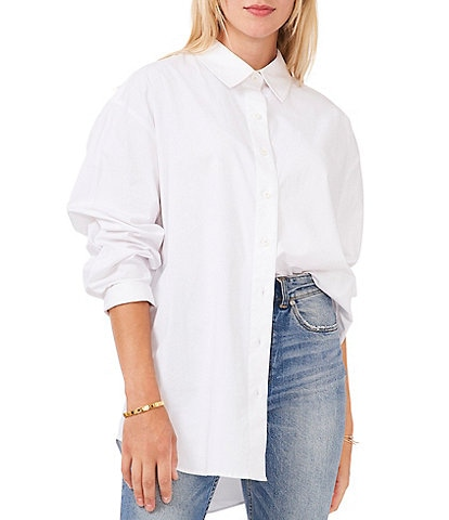 Vince Camuto Long Cuff Sleeve Point Collar Neck Button Down Shirt Tunic