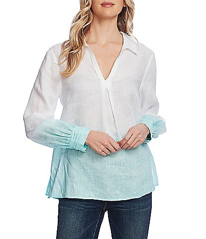 Vince Camuto Long Sleeve Collared Linen Ombre Top