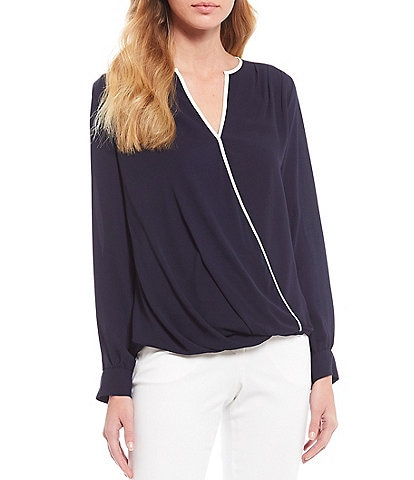Vince Camuto Long Sleeve Contrast Piping Trim Wrap Front Blouse