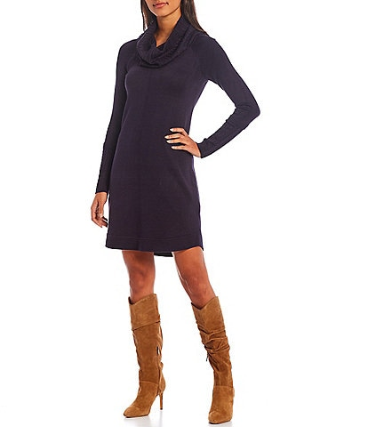 Vince Camuto Long Sleeve Cowl Neck Sweater Knit Dress