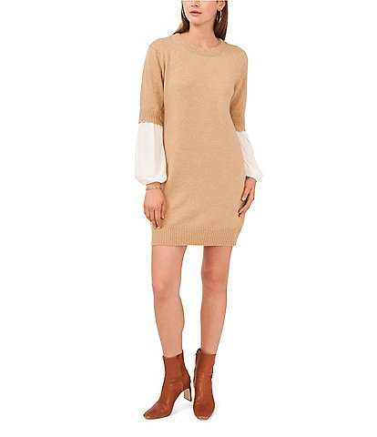 Vince Camuto Long Sleeve Crew Neck Mixed Media Layered Sweater Dress