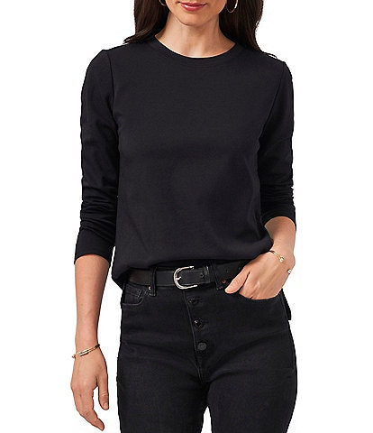 Vince Camuto Long Sleeve Crew Neck Polished Knit Tee