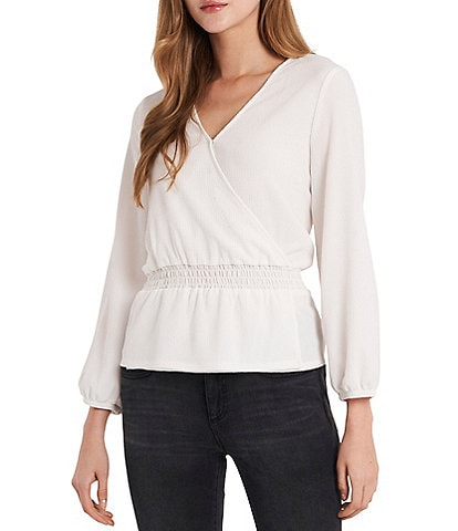 Vince Camuto Long Sleeve Cross Front Knit Top