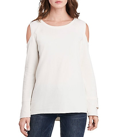Vince Camuto Long Sleeve French Terry Cold Shoulder Pullover