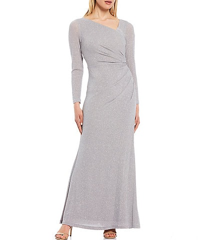 Vince Camuto Long Sleeve Gathered Metallic Gown