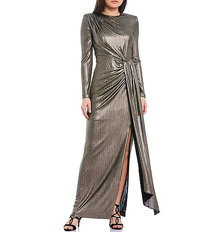 Vince Camuto Long Sleeve Gathered Waist Metallic Gown