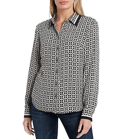 Vince Camuto Long Sleeve Geometric Print Button Down Blouse