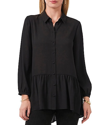 Vince Camuto Long Sleeve Georgette Button Down High-Low Tunic