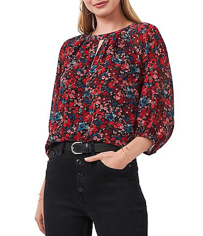 Vince Camuto Long Sleeve Keyhole Round Neck Front Autumn Floral Blouse