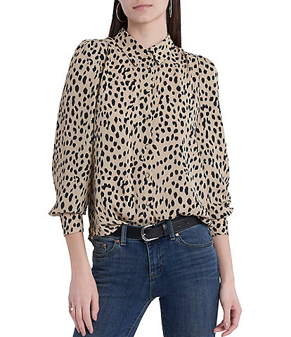 Vince Camuto Long Sleeve Leopard Print Button Down Blouse