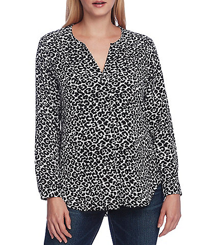 Vince Camuto Long Sleeve Leopard Print Split Neck Tunic
