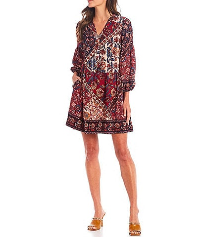 Vince Camuto Long Sleeve Mixed Scarf Print Button Front Dress