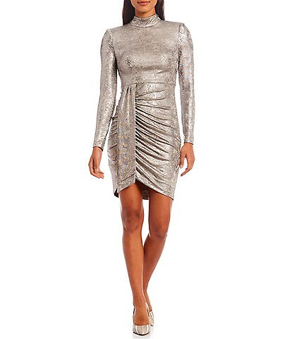Vince Camuto Long Sleeve Mock Neck Metallic Knit Dress