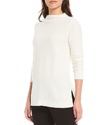Vince Camuto Long Sleeve Mock Neck Textured Sweater