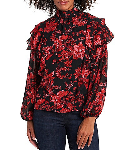 Vince Camuto Long Sleeve Mock Neck Tiered Ruffle Floral Blouse