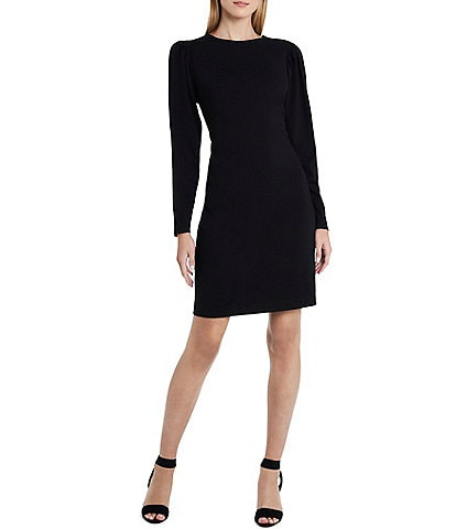 Vince Camuto Long Sleeve Puff Shoulder Ponte Dress