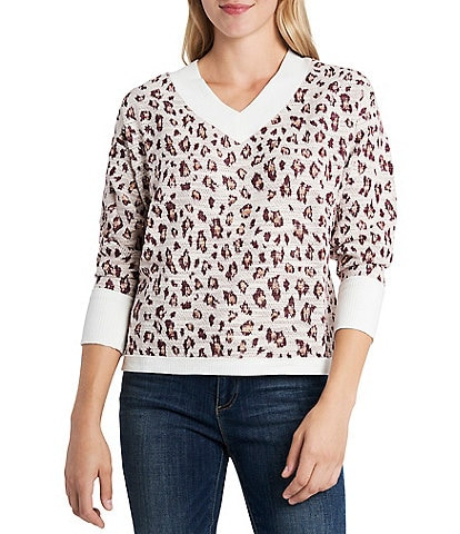 Vince Camuto Slouchy Long Sleeve Off the Shoulder Ribbed Leopard Sweater Knit Pullover
