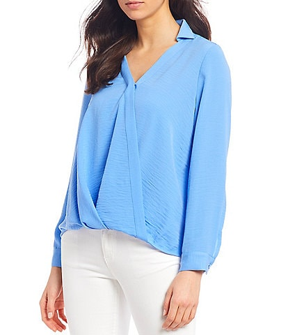 Vince Camuto Long Sleeve Rumple Twill Wrap Front Blouse