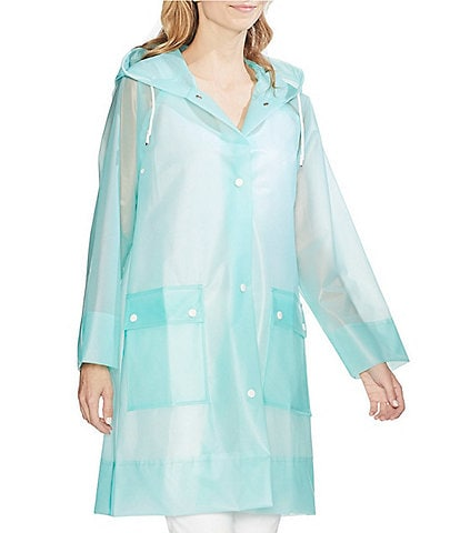 Vince Camuto Long Sleeve Snap Front Hooded Transparent Rain Jacket