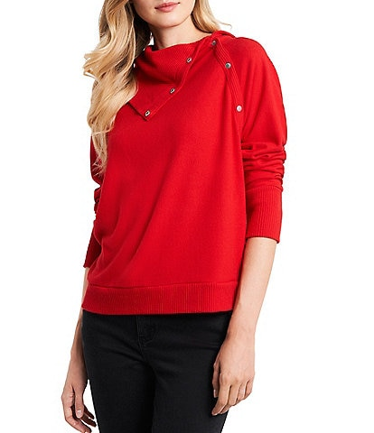 Vince Camuto Long Sleeve Snap Trim Knit Top