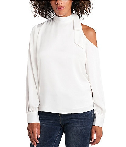 Vince Camuto Long Sleeve Tie Neck Cold Shoulder Blouse