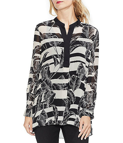 Vince Camuto Long Sleeve Tropical Shadow Tunic