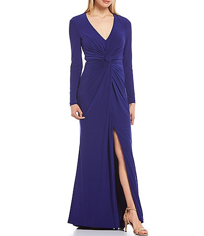 Vince Camuto Long Sleeve Twist Front Gown