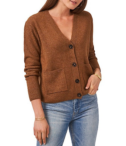 Vince Camuto Long Sleeve V-Neck Button Front Short Cardigan