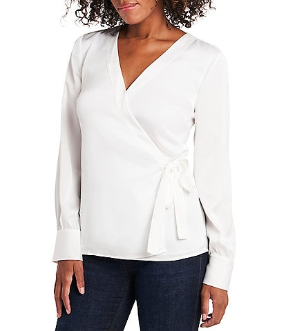 Vince Camuto Long Sleeve Wrap Front Blouse