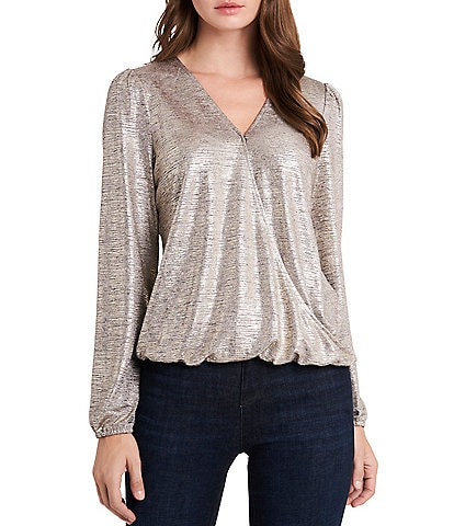 Vince Camuto Long Sleeve Wrap Front Metallic Knit Top