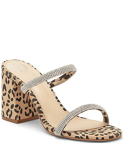 Vince Camuto Magaly Rhinestone Embellished Leopard Print Leather Two Strap Mules