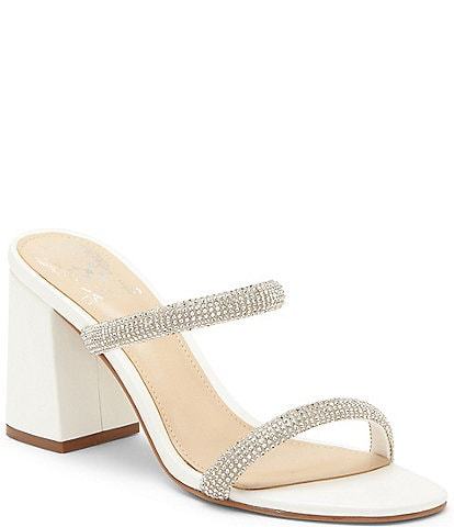 Vince Camuto Magaly Leather Two Embellished Strap Square Toe Mules