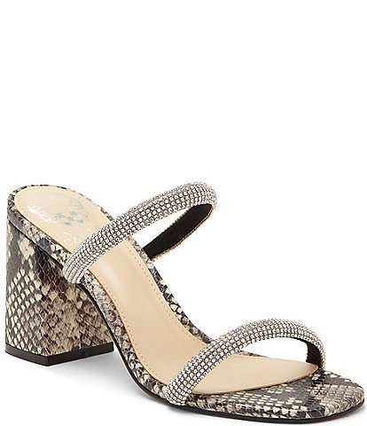 Vince Camuto Magaly Square Toe Snake Print Leather Two Strap Mules