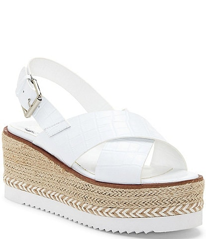 Vince Camuto Marietten Croco Embossed Leather Cross Strap Platform Wedge Espadrilles