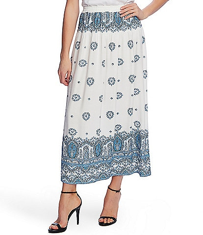 Vince Camuto Medallion Print Pull-On Maxi Skirt