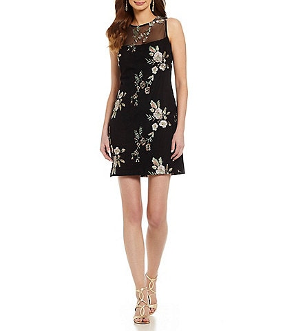 Vince Camuto Mesh Floral Embroidered Dress