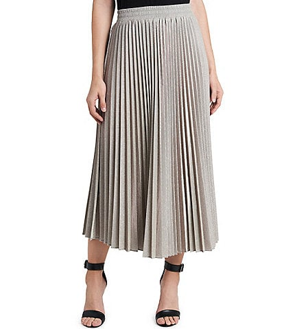 Vince Camuto Metallic Pleated Ankle Skirt