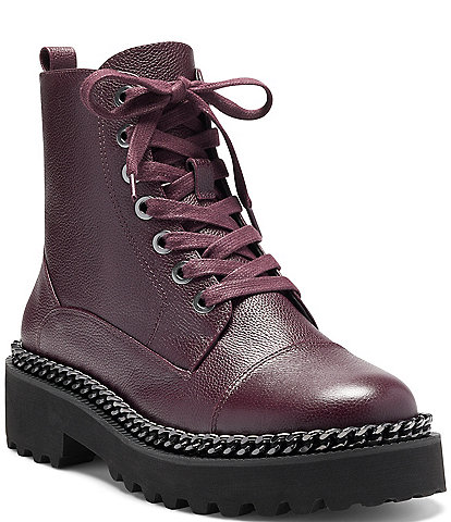 Vince Camuto Mindinta Leather Chain Detail Lace-Up Block Heel Lug Sole Combat Boots