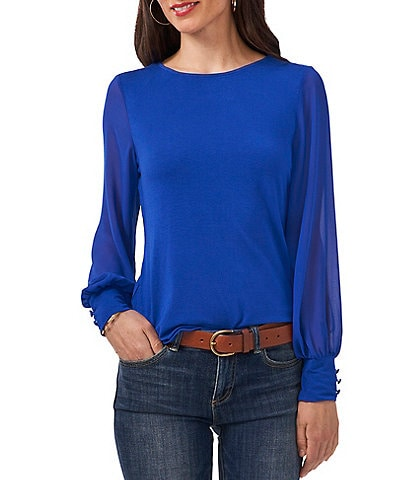 Vince Camuto Mixed Media Chiffon Round Neck Long Sleeve Knit Top