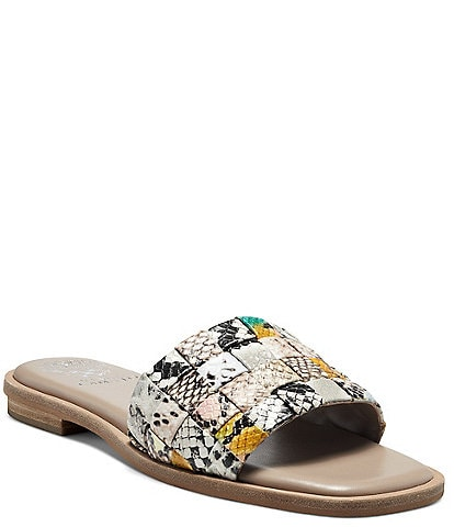 Vince Camuto Nanchia Woven Multi Snake Print Leather Slides