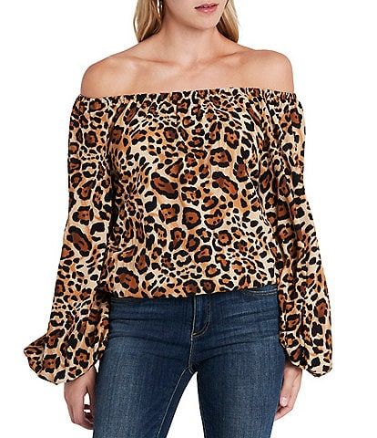 Vince Camuto Off-The-Shoulder Balloon Sleeve Leopard Print Blouse