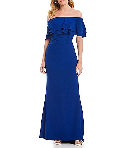 Vince Camuto Off-the-Shoulder Ruffle Sheath Gown