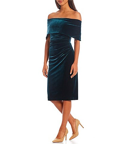 Vince Camuto Off-the-Shoulder Short Sleeve Velvet Bodycon Dress